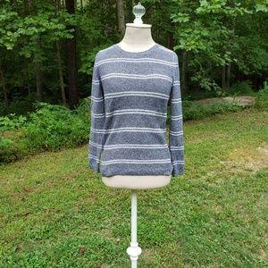 Talbots striped pullover crew sweater, petite sm
